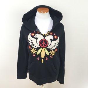 Lucky Brand Black Sweatshirt Hoodie Doves Sz Large